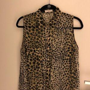 Equipment leopard print silk blouse!